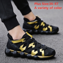 2019 New Sport Shoes for Men Sneakers Outdoor Shoes Fashion Sneaker for Male Man Running Shoes black+golden 42