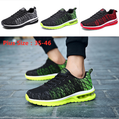 Shoes Men Lace-Up Rubber Sole FashionSneakers Casual Shoes Sports Running Shoes Mesh Black Red Grey black+gray 35