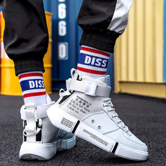 2019 New Men Casual Shoes Quality Male Motorcycle Martins Boots Ankle Boots Shock Wear-Resisting black+brown 35