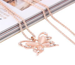 Jewelry Woman Fashion Butterfly Necklace Creative Animal Pendant Personality Simple Diamond Necklace As picture One size