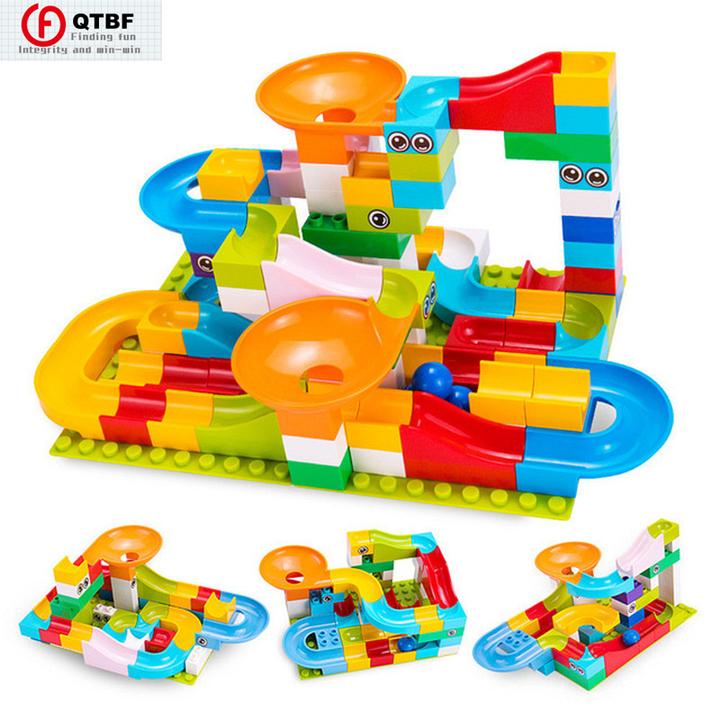208Pcs Race Maze Balls Track Building Blocks Funnel Slide Big Size Building Brick Compatible Legoing Various colors 52 PCS
