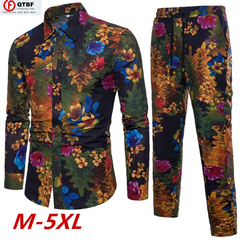 Men's Fashion Chinese Style Slim Fit Floral Printed Men's Suit Cotton and Linen Men's Casual Suit chinese style m