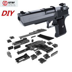 Creative DIY Building Blocks Toy Gun Desert Eagle Assembly Toy Puzzle Brain Game Model Can Fire Mung random color one size