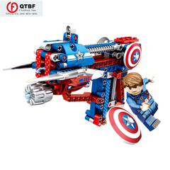 Creative DIY Building Block Gun Avenger Alliance Puzzle Building Block Assembly Toy Pistol Can Shoot Captain America one size