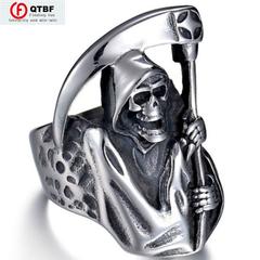 Men Ring Vintage Gothic Punk Grim Reaper Skull Ring Stainless Steel Reaper's Scythe Ring Jewelry standard Size 14