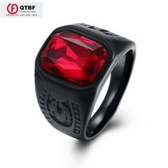 Men Ring Black Stainless Steel Ruby Geometry Stone ring Finger Ring Male Men Hip Hop Party Jewelry standard size 10