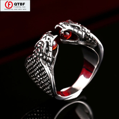 Crazy Promotion Stainless Steel Cool Double Snake Heads Ring Red Garnet Steampunk Personalized Rings standard size 13