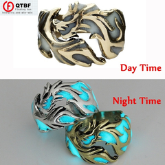 Crazy Promotion Vintage Unisex Luminous Dragon Finger Rings Men Women Fashion Ring Glow In The Dark Copper Blue size 7