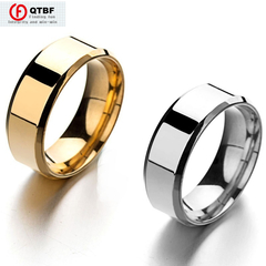 Crazy Promotion 8MM Fashion Titanium Steel Ring Simple Smooth Ring Man/Woman Stainless Steel Ring golden size 7
