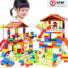 DIY Colorful City Big Particle Building Blocks Castle Educational Toy For Children Compatible Legoin as pictures 89 pcs Big Particle