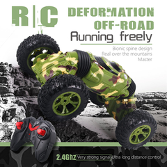4WD Double-sided 2.4GHz One Key Transformation All-terrain Vehicle Climbing Car Remote Control Truck as pictures 36.5*18CM-Green