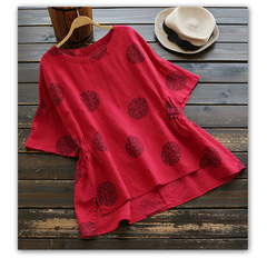 Women's Shirts Ladies Retro Solid Color Simple Cotton Shirt Female Harajuku Cute Clothes For Women red s