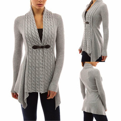 Women's Knitted Cardigan New Sexy Deep V-neck Long Sleeve Irregular Sweater Slim Buckle Tops Gray S
