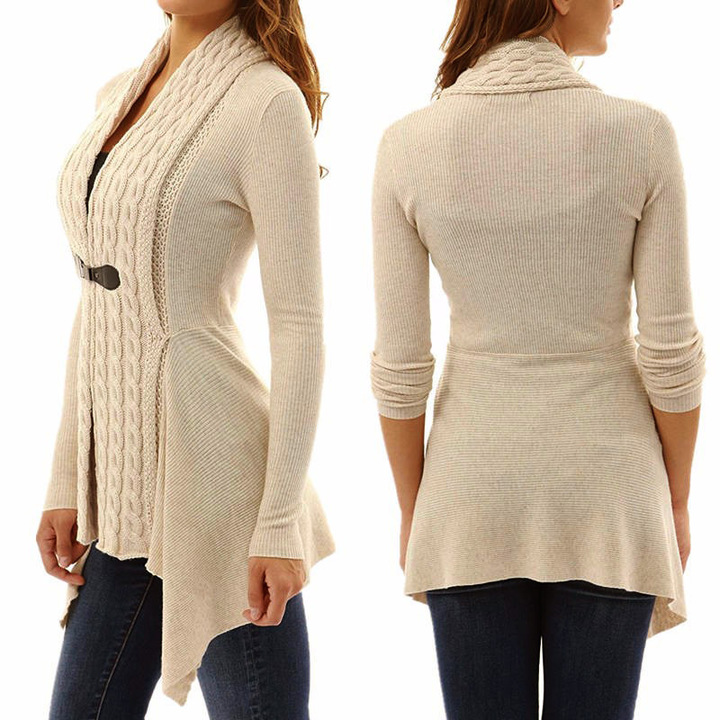 Women's Knitted Cardigan New Sexy Deep V-neck Long Sleeve Irregular Sweater Slim Buckle Tops Khaki L