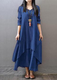 Women Maxi Dress Cotton and linen 2019 Casual Long Lantern Sleeve Solid colour Loose Dresses Female m blue