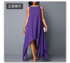 Women Summer Dresses O Neck pure color Beach Dress Ladies Sleeveless Asymmetric Hem Dresses s purple