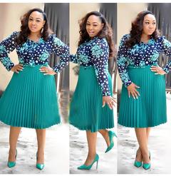 African women's beaded chiffon hitting net color hem pleated dress fashion fashion women's dress xxxl Lake Green
