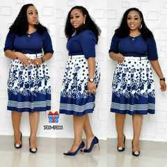 New style African Women clothing Dashiki fashion stretch Plus Size Floral Print Dress with belt size xl dark blue
