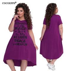 5XL 6XL Plus Size Women Dresses Letter Print Large Size Casual Summer Dress Big size Women 6xl purple