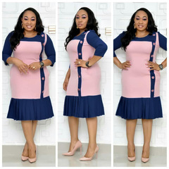 2019 New African Women's Dress Round Neck Medium Sleeve Print Pleated A-line Dress xxl pink