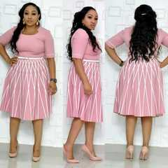 New Hot Africa Dress for Women Plus Size Women's Printed Striped Commuter Dress Female l pink