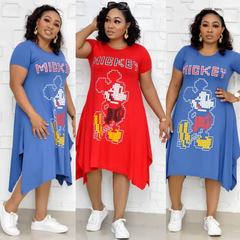 2019 Side Mickey Cartoon Printed Large Size Dress Short Sleeve O Neck Loose Women Knee Length Dress 3xl red