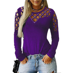 New Large Size Spring Autumn Women's T Shirt Casual Solid Ladies Tops Tee Elegant Slim O Neck purple m