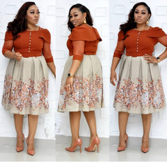 Office Lady Dresses Women 2019 One shoulder A Dress Belt High Quality African Clothes xxl Orange