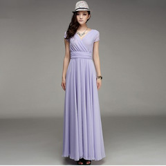 New Fashion Women V-neck Sleeveless Waist Slim Dresses Lady Bohemian Chiffon Maxi Evening Long Dress xxl 05