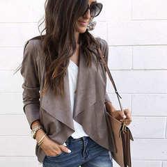 Women Slim Blazers Suit Jacket Female Office Lady Suit None Button Irregular Notched Blazer Coat brown s