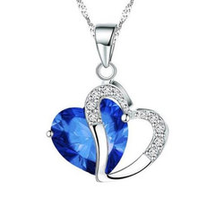 Fashion Love Memory Crystal Jewelry Clavicle Chain Peach Heart Zircon Alloy Necklace Royal Blue Perimeter: 44 cm