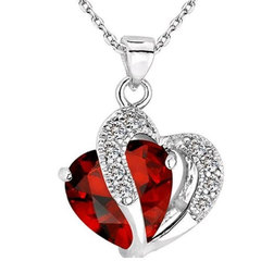 Fashion Love Memory Crystal Jewelry Clavicle Chain Peach Heart Zircon Alloy Necklace red Perimeter: 44 cm