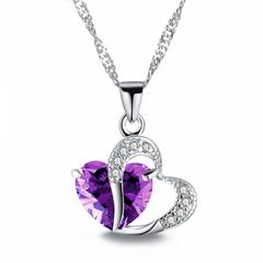 Fashion Love Memory Crystal Jewelry Clavicle Chain Peach Heart Zircon Alloy Necklace purple Perimeter: 44 cm
