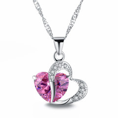 Fashion Love Memory Crystal Jewelry Clavicle Chain Peach Heart Zircon Alloy Necklace pink Perimeter: 44 cm