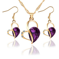 Fashion Ladies Jewelry 3-piece Rose and Golden Peach Heart Entangled Diamond Necklace Earrings purple one size