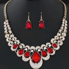 Luxury Ladies Metal Flash Diamond Necklace, Earrings, Water Drop Coloured Diamond 2-piece Set red one size
