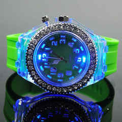 Geneva Colour Water Drill led Watch Student Couple Silicone Night Light Watch Birthday Gift green one size