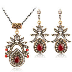 Hot Selling Ladies Palace Retro Diamond-inlaid Agate Red Earrings Alloy Necklace 2-piece Set picture color one size