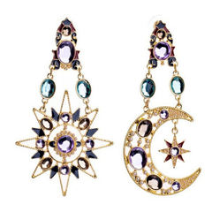 fashion studded with diamond stars, moon and Sun Pendant Earrings Bohemian earrings earrings picture color one size