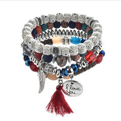 Explosive Beaded Bracelet Retro-ancient Ethnic Wing Wing Round Letter Multilayer tassel Bracelet red one size