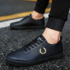 2019 spring fashion trend new leather shoes casual shoes breathable non-slip wear shoes white shoes black 44