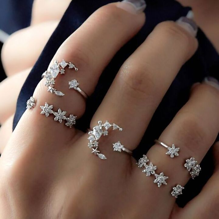Hot sales Bohemian set of 5 pcs with diamond rings women wedding festival star moon crystal rings silver as picture