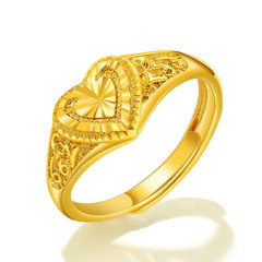 Free Size fashion jewelry 18K gold plated heart shaped hollow ring gifts for ladies women gold free size