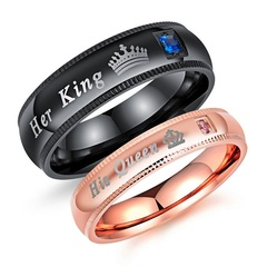 1PCS/Accessories her King his Queen couple ring fashion hot titanium steel ring gift for men women women(gold) 8