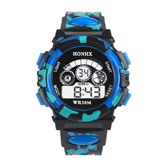 Electronic watch Fashion Mens Digital LED Analog Quartz Alarm Date Sports students Wrist Watches blue one size