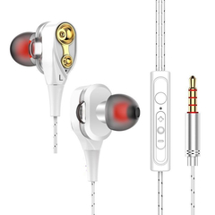 Moving-coil headset wire-controlled bass in-ear earphone universal computer mobile phone iphone HIFI white