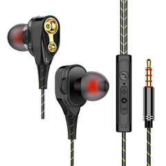 Moving-coil headset wire-controlled bass in-ear earphone universal computer mobile phone iphone HIFI black