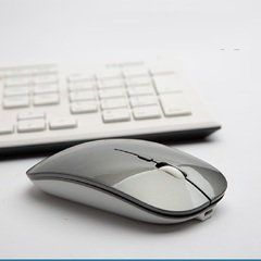 Ultra-thin new 2.4g office mouse wireless mute rechargeable mouse notebook home mouse silver gray wireless