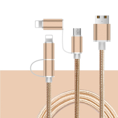 The new data cable is suitable for apple android 2-in-1 woven data cable nylon charging cable gift gold 1m
