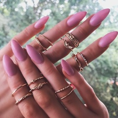 12pcs/Geometrical circle circular set rings 12 pieces set twine knot twist line carved ring gold as picture